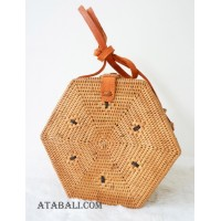 hexagon shape sling bags rattan handmade natural