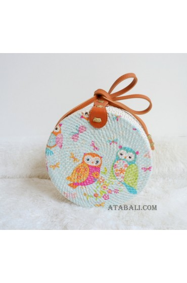 ladies circle rattan sling bags decoration handmade bali