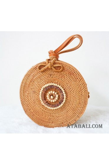 natural handmade sling bags rattan with wooden beads circle
