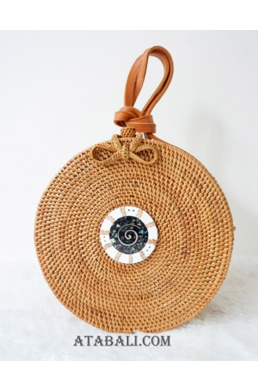 sling bags rattan circle with pendan decor full handmade