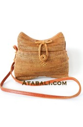 Ladies handbags rattan full handmade leather straps
