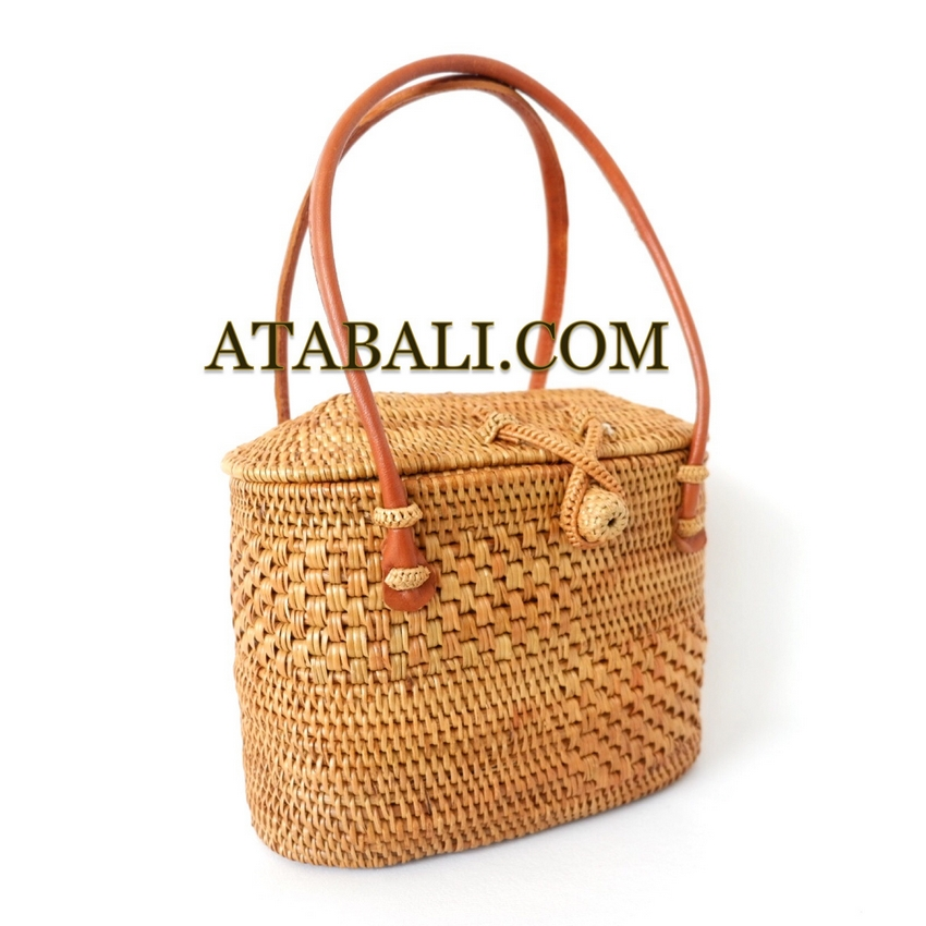 279090986ae Ladies mini tote bag short leather strap balinese design