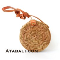 Mini ata round bag plain pattern with leather clip