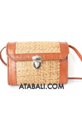 Rattan bag with leather style