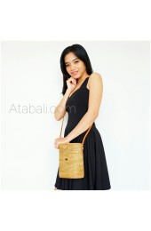Ata Bucket Rattan Bags Leather Sling with Leather Strap