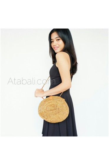 Oval round ata rattan flower pattern handwoven bag limited edition