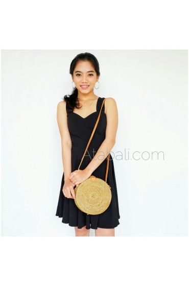 Ata round bag plain pattern with leather clip