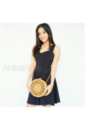 sling bags circle ata rattan carved design handwoven bali