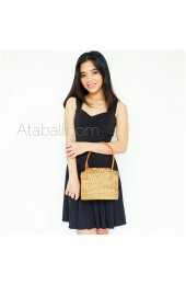 Ladies mini tote bag short leather strap balinese design