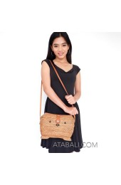 ethnic rattan Ata classic style sling bags handwoven