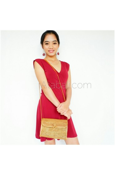 Ata rattan wallet bag with ribbon clip with sling leather